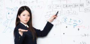 ホワイトボードに何かの構成を書いているスーツ姿の女性