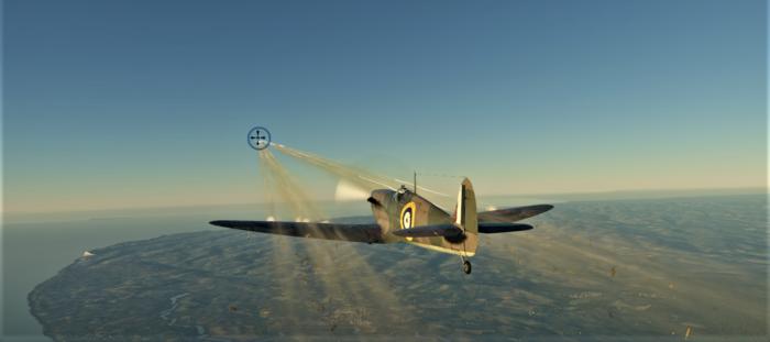 ゲームWar Thunder空軍機体の機銃の弾道の画像